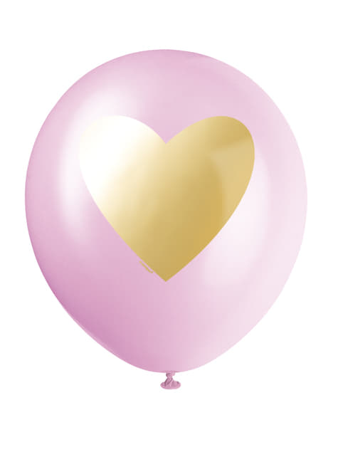 Set of 6 assorted latex balloons in white, light pink and bright pink with gold heart