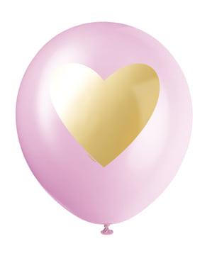 6 latexballonger i olika färger, vit, ljusrosa, och rosa med guldhjärta (30 cm)