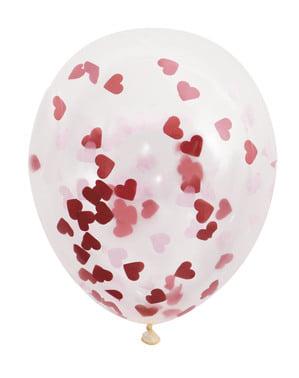 Komplekt 5 lateksist õhupalliga, mille mõõtmed on 40 cm koos südamekujulise konfetiga