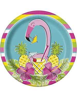 Set 8 flamingo tropis dan piring nanas - Tropi-cool