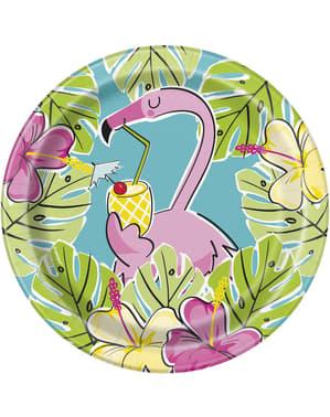 Sett med 8 tropiske flamingo og ananas desserttallerkener - Tropi-cool