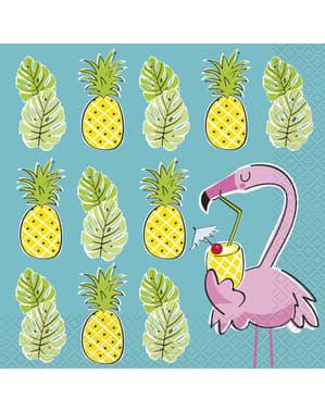 Set 16 flamingo tropis dan serbet nanas - Tropi-cool