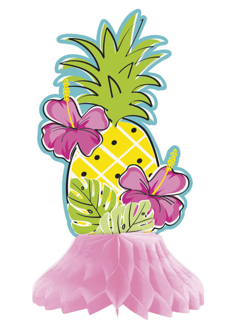 Set of 3 assorted tropical flamingo pineapple table decorations made of honeycomb paper - Tropi-cool