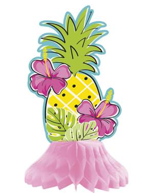 Sett med 3 assorterte tropiske flamingo ananas borddekorasjoner laget av honeycomb papir - Tropi-cool