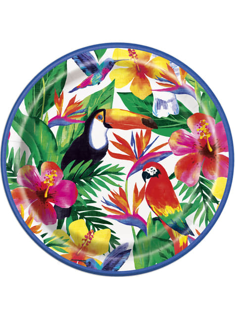 8 platos verano tropical (23cm) - Palm Tropical Luau