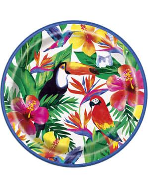Sett med 8 tropiske sommer tallerkener - Palm Tropical Luau