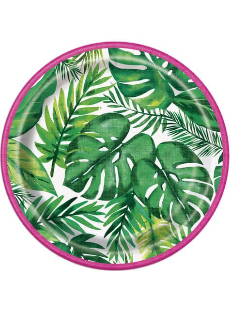 Set de 8 platos de postre verano tropical - Palm Tropical Luau