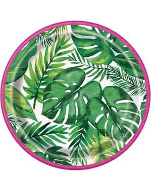Sett med 8 tropiske sommer desserttallerkener - Palm Tropical Luau
