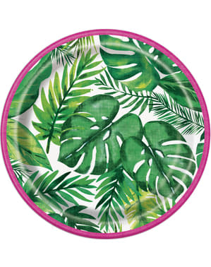 8 tropiske sommer desserttallerkne (18 cm) - Palm Tropical Luau