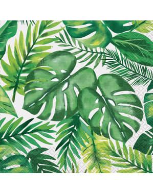 Sett med 16 tropiske sommer servietter - Palm Tropical Luau