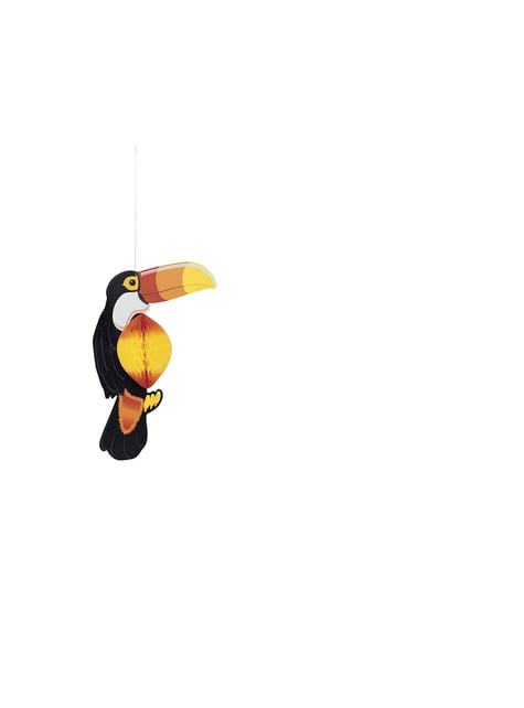Hanging toucan made of honeycomb paper