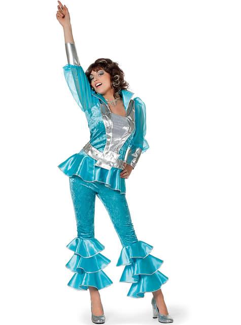 Disfraz de Abba deluxe azul años 70