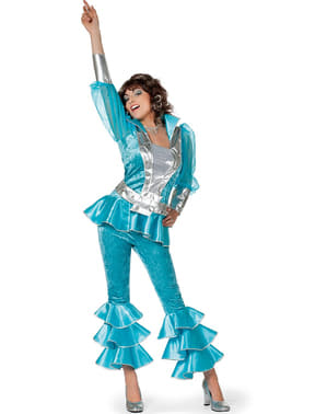 Deluxe blauw Mamma Mia kostuum voor vrouwen - Abba