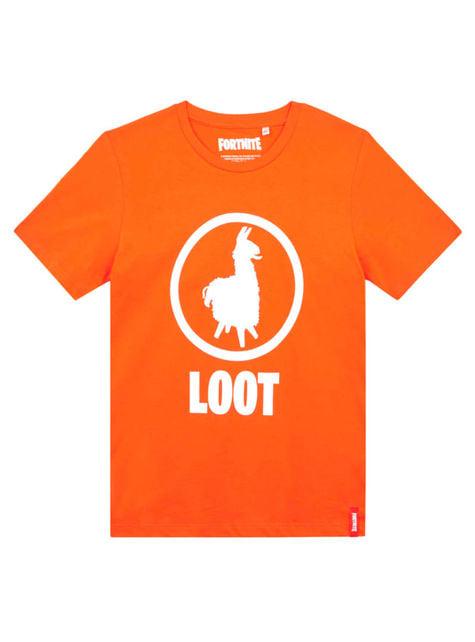 T-shirt Fortnite Loot laranja infantil