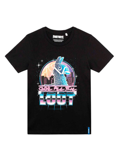 Black Fortnite Loot T-Shirt for Kids