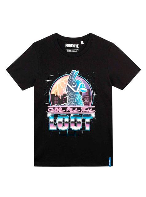 T-shirt Fortnite Loot preta infantil