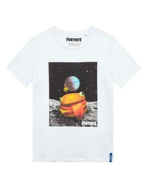 子供のためのホワイトフォートナイトハンバーガーTシャツ
