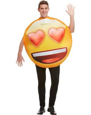 Emoji lachend met hartvormige ogen kostuum