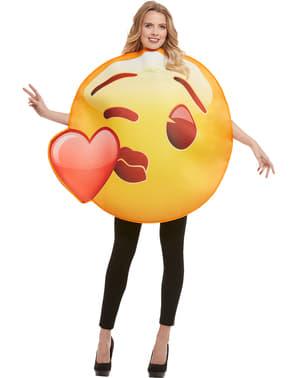 Костюм на емоджи, целувка със сърчице