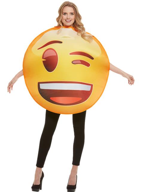 Fato de Emoji a piscar um olho