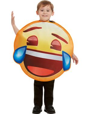 儿童服装的表情符号与泪微笑