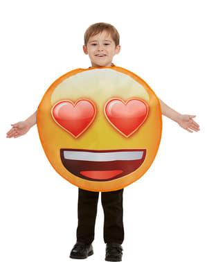 儿童服装的表情符号与心脏的眼睛微笑