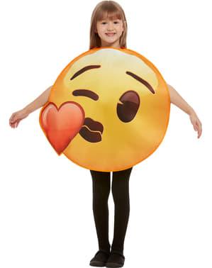 Fato de Emoji beijo de coração infantil