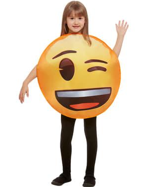 Fato de Emoji a piscar um olho infantil