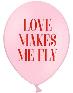 """Set 6 latexových balónků """"Love Makes Me Fly"""" - Valentine Collection"""