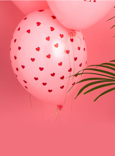 6 globos de látex rosas con corazones rojos (30 cm) - Valentine Collection