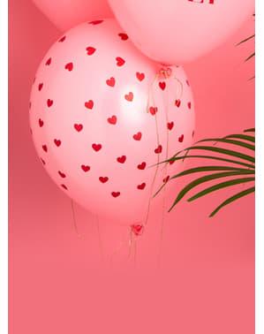 Sett med 6 Rosa Latex Ballonger Med Røde Hjerter - Valentine Collection