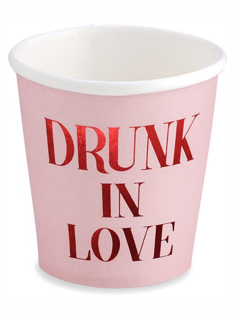 6 różowe kubki Drunk in Love – Valentine Collection