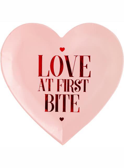 6 talerze deserowe w kształcie serca Love At First Bite – Valentine Collection