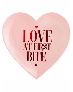 Σετ 6 αγάπης σε σχήμα καρδιάς σε πιάτα επιδόρπιο πρώτης μπουκιάς - συλλογή του Αγίου Βαλεντίνου
