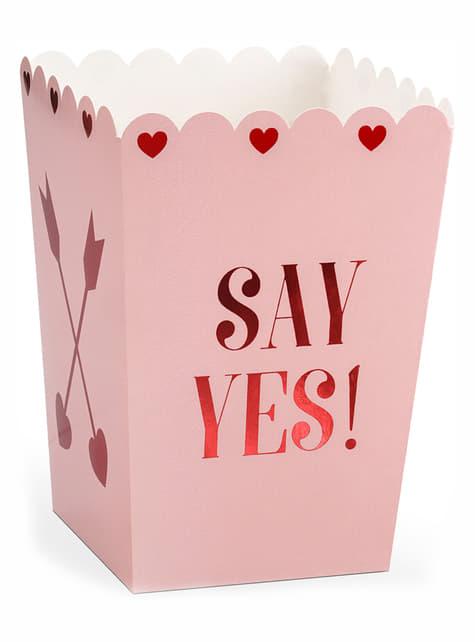 6 scatole da pop corn Say Yes- Valentine Collection