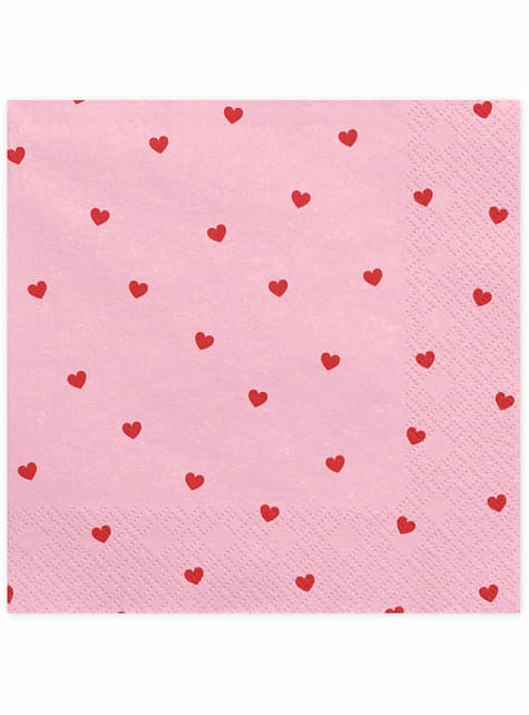 Set de 20 servilletas rosas con corazones rosas - Valentine Collection