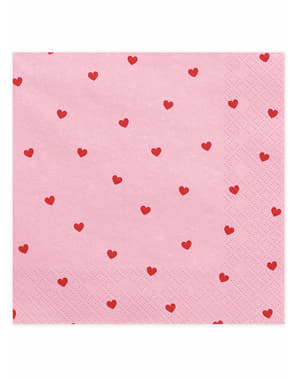 20 Pink Napkins With Heart (33x33 cm) - Valentine Collection