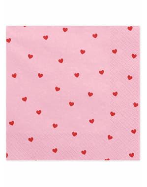 Sett med 20 Rosa Servietter Med Hjerter - Valentine Collection