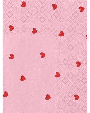Комплект от 20 розови салфетки със сърца - колекция