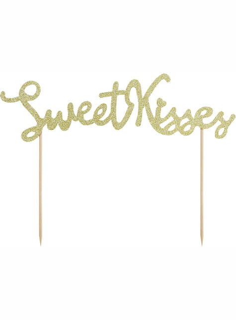 Decoración para tarta dorada sweet kisses - Valentine Collection