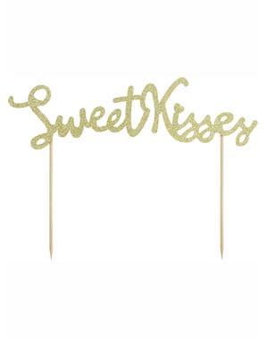 Decoração para bolo dourada sweet kisses - Valentine Collection