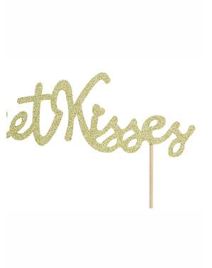Sweet Kisses gouden taart topper - Valentijn Collectie