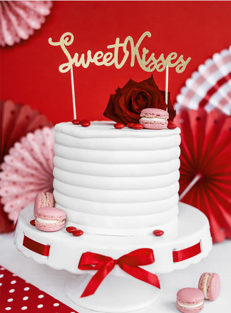 Sweet Kisses Gold Cake Topper - Valentine Collection