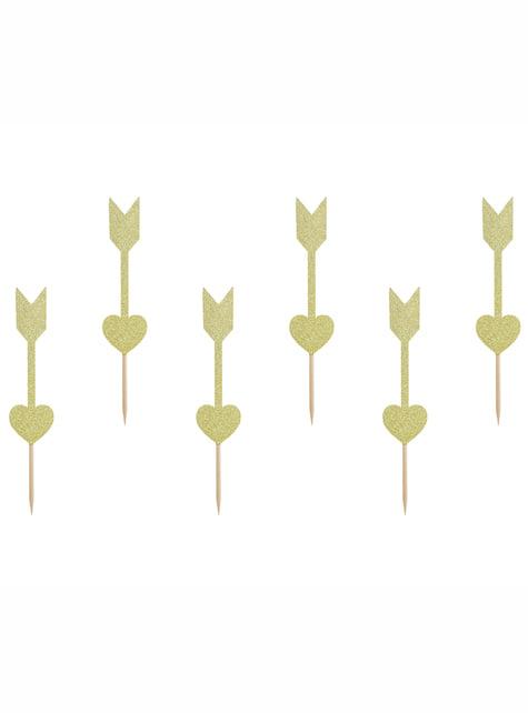 Set de 6 palillos dorados de corazón y flechas - Valentine Collection