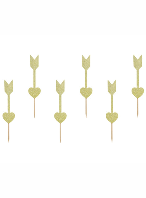 6 Gold Heart and Arrow Cupcake Toppers - Valentine Collection
