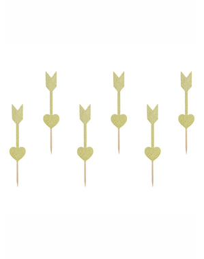 Herz und Pfeile Deko Sticks Set 6-teilig in gold - Valentine Collection