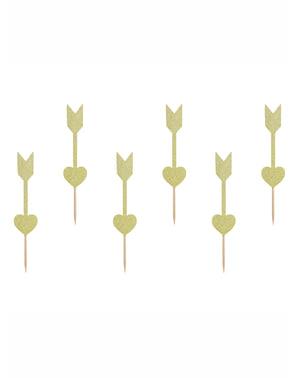 Sett med 6 Gull Hjerte og Pil Muffins Topping - Valentine Collection