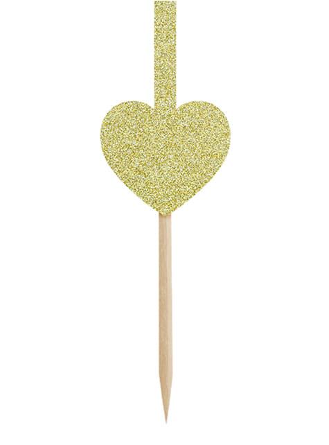Conjunto de 6 palitos dourados de coração e flechas - Valentine Collection