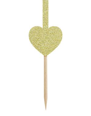 6 dekorationspinnar guldfärgade med hjärtan och pilar - Valentine Collection