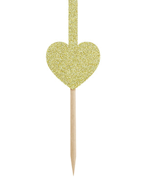 6 Guldhjerte og Pile Muffin Toppers - Valentine Collection